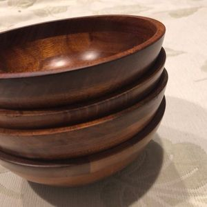 Set of 4 cherry finished wood bowls